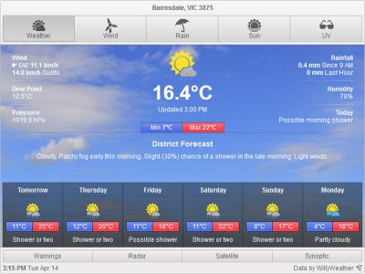 Bairnsdale Weather Report for Today